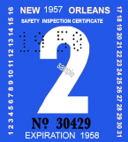1957 Louisiana inspection sticker NEW ORLEANS