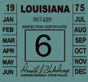 1975 Louisiana inspection sticker
