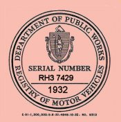 1932 Massachusetts REGISTRATION Sticker