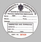 1934 Massachusetts Inspection Sticker