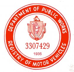 1935 Massachusetts REGISTRATION Sticker