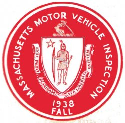1938 Massachusetts Fall INSPECTION Sticker