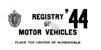 1944 Massachusetts REGISTRATION Sticker