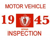 1945 Massachusetts SPRING INSPECTION Sticker