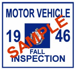1946 Massachusetts Fall INSPECTION Sticker