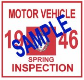1946 Massachusetts SPRING INSPECTION Sticker