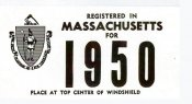 1950 Massachusetts REGISTRATION Sticker
