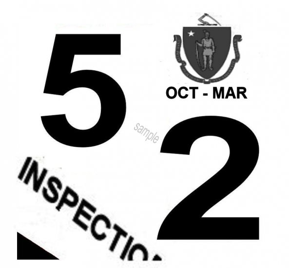 1952 Massachusetts FALL INSPECTION Sticker - Click Image to Close