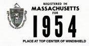 1954 Massachusetts REGISTRATION Sticker