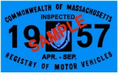1957 Massachusetts Spring INSPECTION Sticker