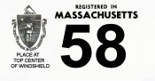 1958 Massachusetts REGISTRATION Sticker