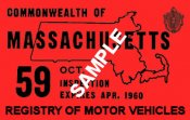 1959 Massachusetts Fall INSPECTION Sticker