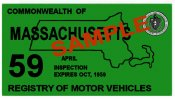 1959 Massachusetts Spring INSPECTION Sticker
