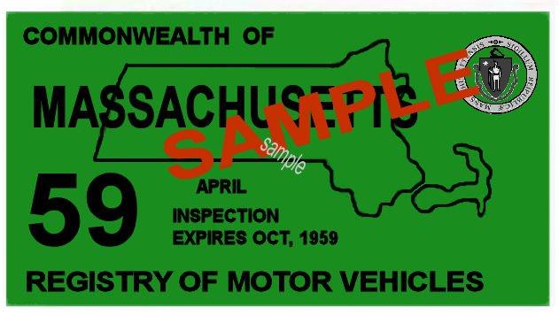 1959 Massachusetts Spring Inspection Sticker 20 00 Bob Hoyts