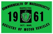 1961 Massachusetts FALL Inspection Sticker