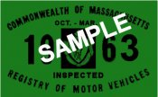 1963 Massachusetts FALL INSPECTION Sticker