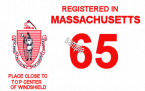 1965 Massachusetts REGISTRATION Sticker