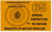 1965 Massachusetts SPRING INSPECTION Sticker