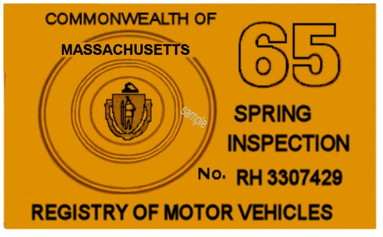1965 Massachusetts SPRING INSPECTION Sticker - Click Image to Close