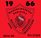1966 Massachusetts SPRING Inspection Sticker