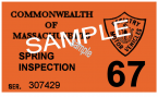 1967 Massachusetts SPRING INSPECTION Sticker