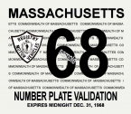 1968 Massachusetts REGISTRATION Sticker