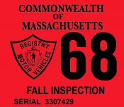 1968 Massachusetts FALL INSPECTION Sticker