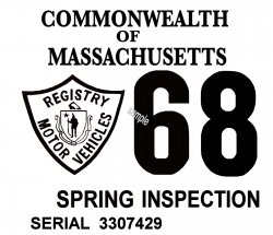 1968 Massachusetts SPRING INSPECTION Sticker