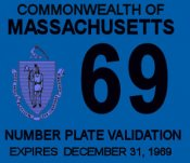 1969 Massachusetts REGISTRATION Sticker