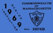 1969 Massachusetts SPRING INSPECTION Sticker