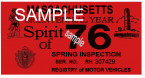 1976 Massachusetts SPRING INSPECTION Sticker