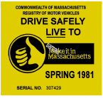 1981 Massachusetts SPRING INSPECTION Sticker