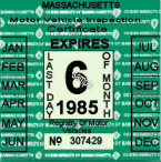 1985 Massachusetts Spring Inspection sticker