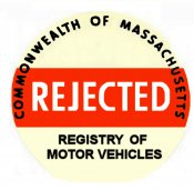 1960-1970 Massachusetts REJECTION Sticker