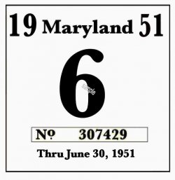 1951 Maryland Inspection sticker