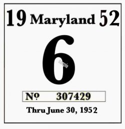 1952 Maryland Inspection sticker