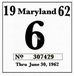 1962 Maryland Inspection sticker