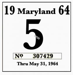 1964 Maryland Inspection sticker