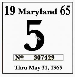 1965 Maryland inspection sticker