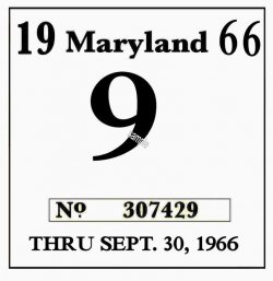 1966 Maryland inspection sticker