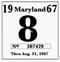1967 Maryland Inspection sticker