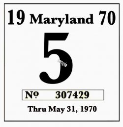 1970 Maryland Inspection sticker