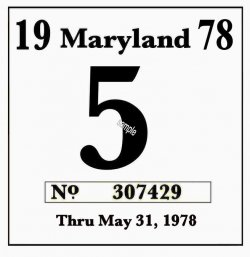 1978 Maryland inspection sticker