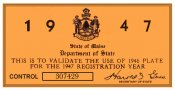 1947 Maine REGISTRATION Sticker