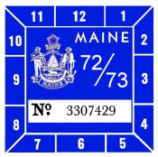 1972-73 Maine Inspection Sticker