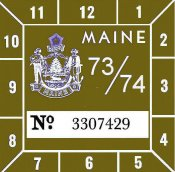 1973-74 Maine Inspection Sticker