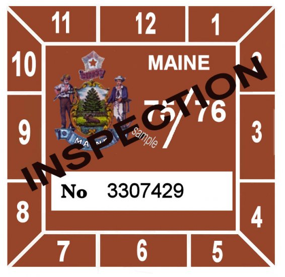 1975-76 Maine Inspection Sticker - Click Image to Close