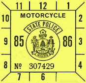1985-86 Maine inspection sticker MOTORCYCLE