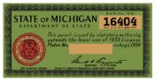 1933-1934 Michigan REGISTRATION Sticker