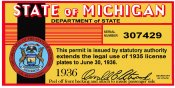 1935-1936 Michigan Inspection registration sticker